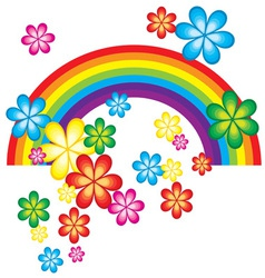 Spring background with rainbow and flowers vector