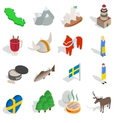 Sweden icons set isometric 3d style vector