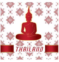 Thailand buddha statue thai design white backgroun vector
