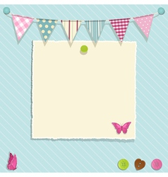 torn paper and bunting background vector image vector image