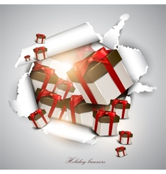 Torn paper with gift boxes Holiday background vector image