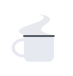 white small mug with a steam for camping vector image