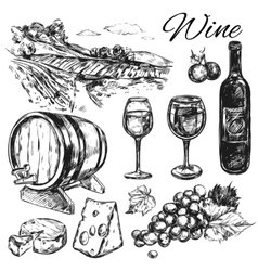 Wine vineyard icon set vector