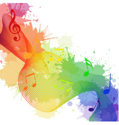 With rainbow musical notes waves and watercolor sp vector