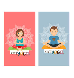 yoga kids vertical flyers set vector image vector image