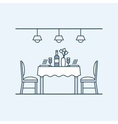 Modern interior dining room with table and chairs vector
