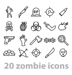 Twenty zombie icons collection vector