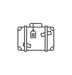 Luggage suitcase travel bag whith stickers thin vector