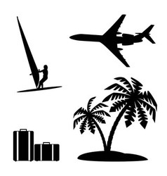 Set silhouettes recreation and tourism vector