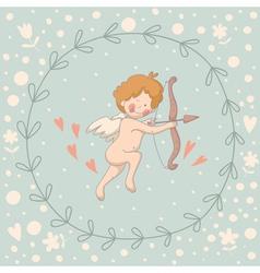 Wreath Cupid vector image