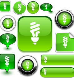 Fluorescent bulb green signs vector