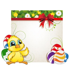 Chicken and easter eggs vector