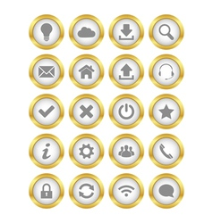 Web gold buttons vector image