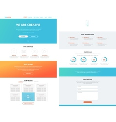 One page flat website design template concept vector image