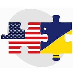 Usa and tokelau flags in puzzle vector