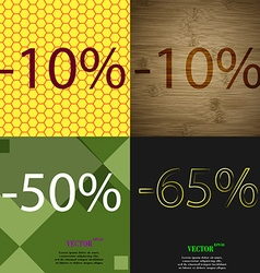 10 50 65 icon set of percent discount on abstract vector