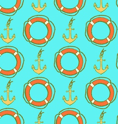 Sketch life bouy and anchor in vintage style vector