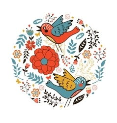 Elegant round composition with birds and flowers vector