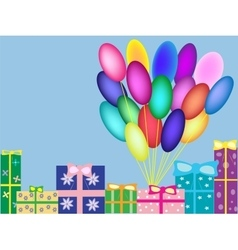 Boxes with gifts background birthday vector