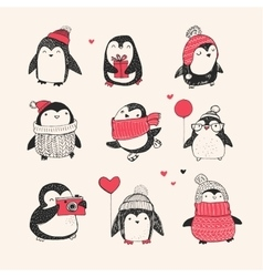 Cute hand drawn penguins set - merry christmas vector