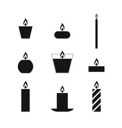Flat icons christmas candles vector
