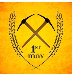 May 1st labor day crossed pickaxes symbol of vector