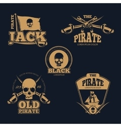 Retro piratical color logo labels and badges vector