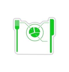 Paper sticker on white background knife fork vector
