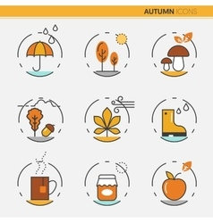 Autumn thin line icons with umbrella vector