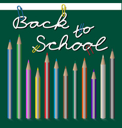 back to school text with paper clip and pencils vector image