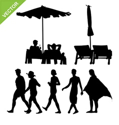 Beach umbrella and deck ans peoples silhouette vector