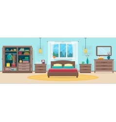 Bedroom with furniture and window vector