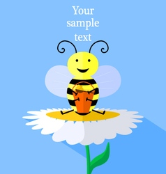 bee and flower vector image