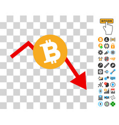 Bitcoin recession chart icon with bonus vector