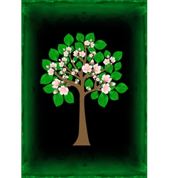 Blossoming tree with background vector
