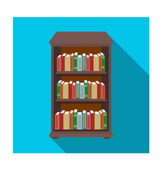 bookcase with books icon in flat style isolated on vector image