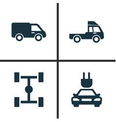 Car icons set collection of van wheelbase truck vector