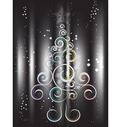 Card with Decorative Christmas Tree2 vector image vector image