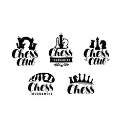 chess club logo or label game tournament icon vector image vector image