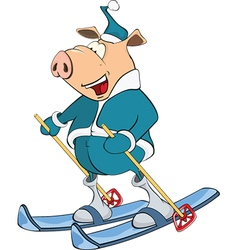 Cute Pig Skier Cartoon Character vector image vector image