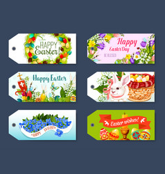 Easter gift tag and greeting label set design vector