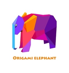 Flat design with origami elephant vector