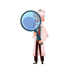 flat grey-haired doctor holding magnifier vector image