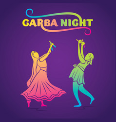 Garba night poster design vector