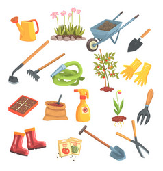 Gardeners equipment set of objects needed for vector