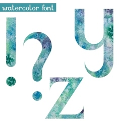 Green-blue watercolor font YZ and punctuation vector image vector image