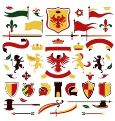 Heraldic set colored vector image vector image