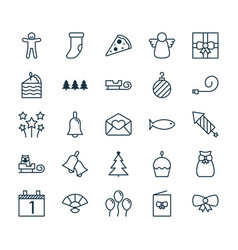 holiday icons set collection of sliced pizza vector image