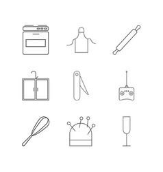 Home appliances linear icon set simple outline vector