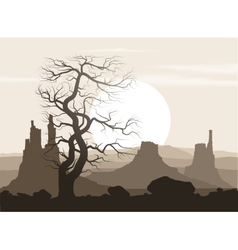 Lifeless landscape with old huge tree and vector